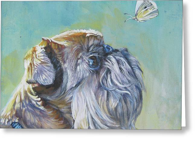 Brussels Griffon With Butterfly Greeting Card by Lee Ann Shepard