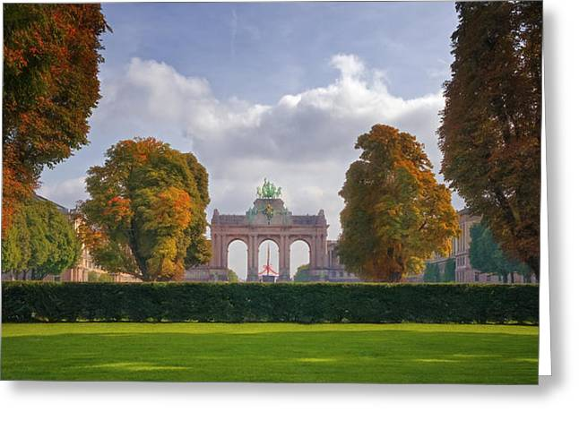Bruxelles Greeting Cards - Brussels Park Greeting Card by Joan Carroll