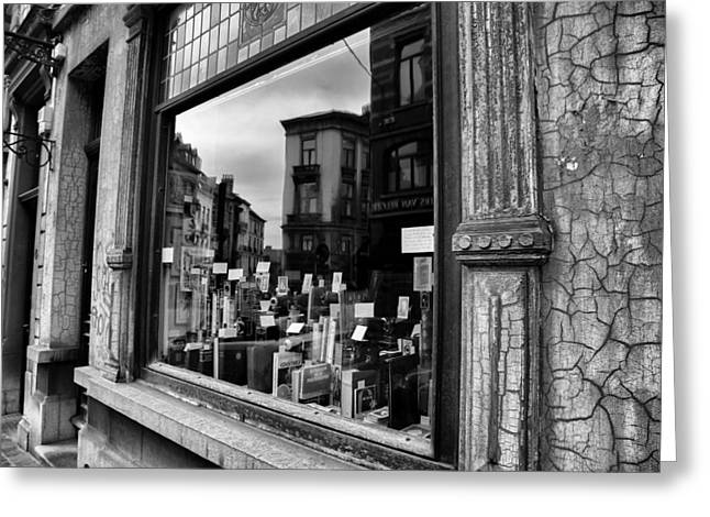 Brussels Reflections - Cameras And Books Greeting Card by Georgia Fowler