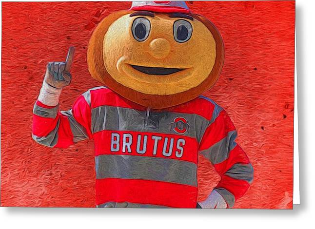 The Ohio State University Greeting Cards - Brutus The Buckeye Greeting Card by Dan Sproul