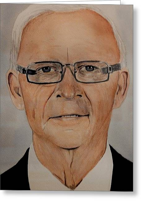Hockey Heroes Greeting Cards - Bryan Murray Greeting Card by Betty-Anne McDonald