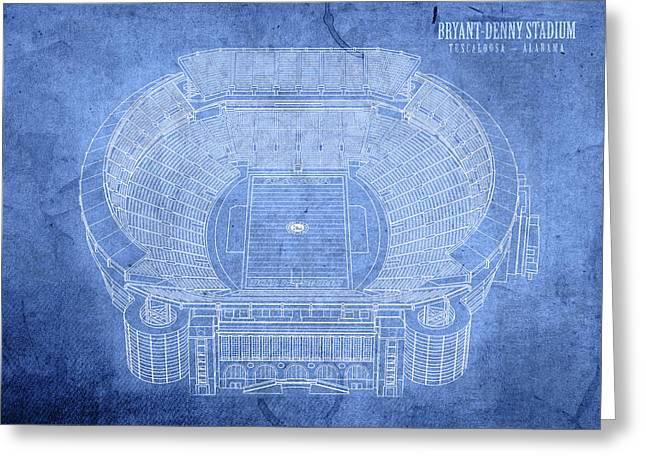 Bryant Denny Stadium Alabama Crimson Tide Football Tuscaloosa Field Blueprints Greeting Card by Design Turnpike