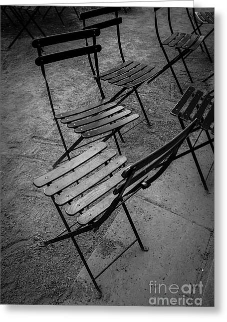 Empty Chairs Greeting Cards - Bryant Park Chairs NYC Greeting Card by Edward Fielding