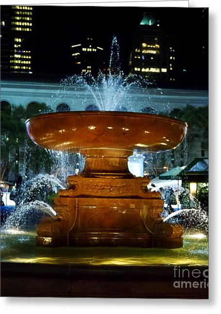 Bryant Greeting Cards - Bryant Park Fountain Greeting Card by Terry Weaver