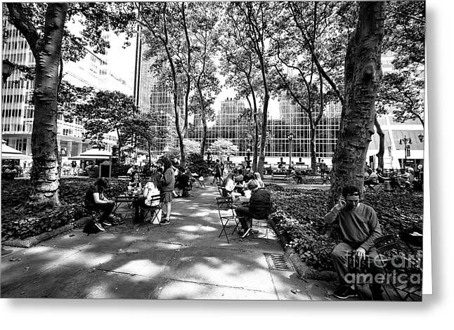 Bryant Park Friends Greeting Card by John Rizzuto