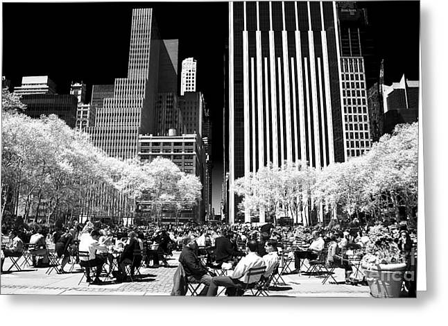 Bryant Park Photographs Greeting Cards - Bryant Park Lunch Greeting Card by John Rizzuto