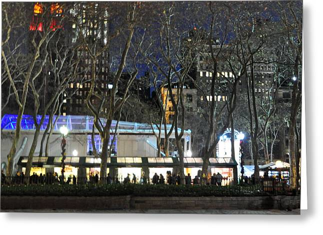 Bryant Greeting Cards - Bryant Park Night Life Greeting Card by Tony Ambrosio