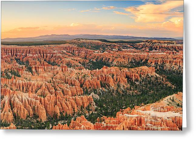 Southern Utah Greeting Cards - Bryce Canyon Sunset Panorama Greeting Card by Johnny Adolphson