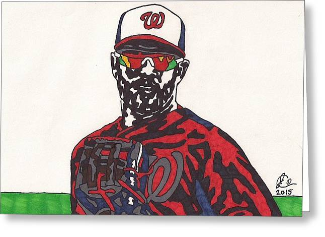 Washington Dc Baseball Greeting Cards - Bryce Harper 2 Greeting Card by Jeremiah Colley