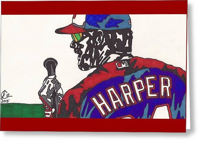 Pastimes Greeting Cards - Bryce Harper 3 Greeting Card by Jeremiah Colley