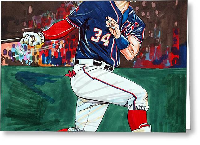 Espn Greeting Cards - Bryce Harper Greeting Card by Dave Olsen