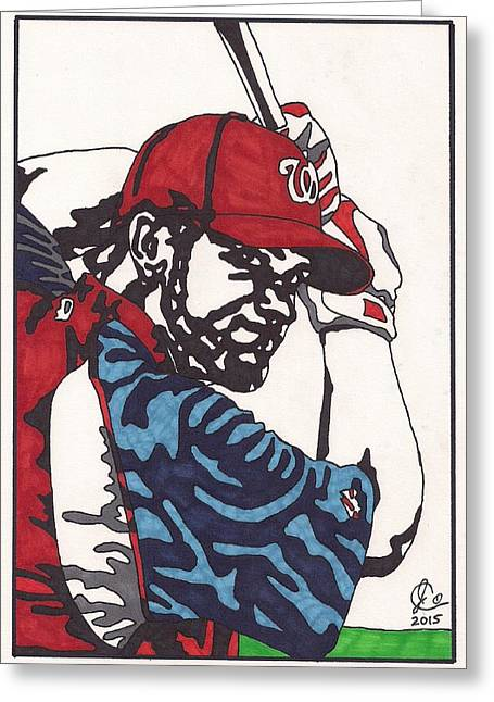 Washington Dc Baseball Greeting Cards - Bryce Harper Greeting Card by Jeremiah Colley