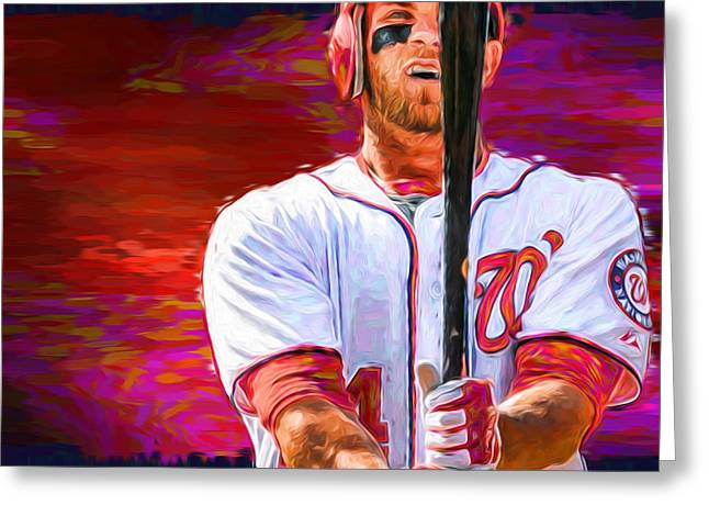 Bryce Harper Mlb Washington Nationals Baseball Painted Digitally Greeting Card by David Haskett
