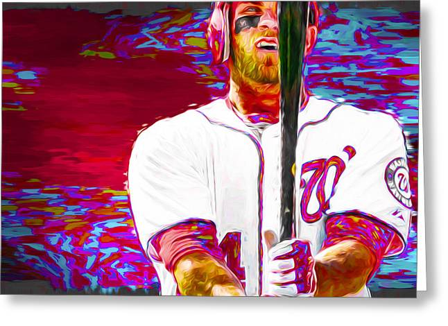 Bryce Harper Washington Nationals Mlb Baseball Painting Digital Greeting Card by David Haskett