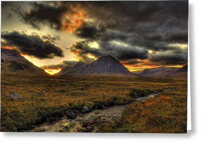 Etive Mor Greeting Cards - Buachaille Etive Mor Sunset-Glencoe Greeting Card by Jim Dohms