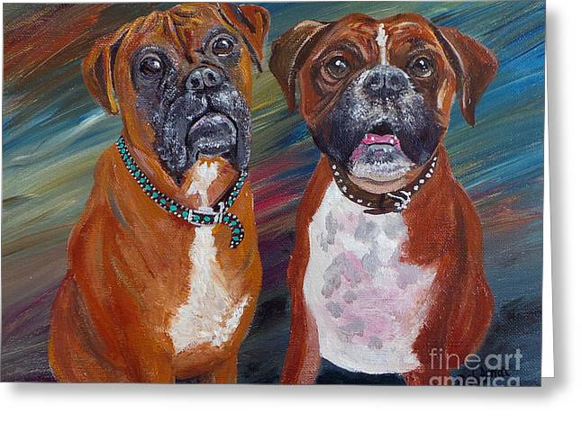 Boxer Pastels Greeting Cards - Bubba and Percy Greeting Card by Deb Arndt