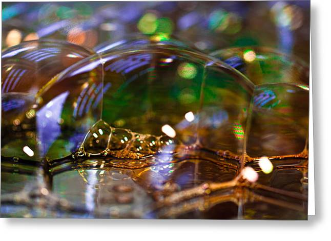 Green Abstract Greeting Cards - Bubble Landscape Greeting Card by David Patterson