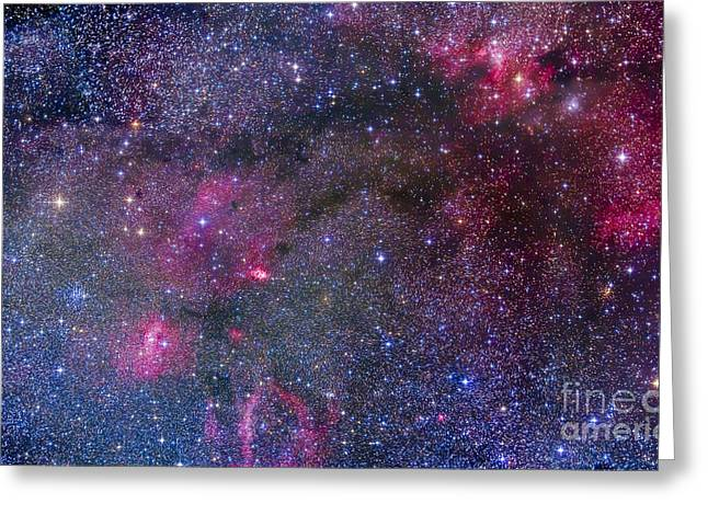 Twinkle Greeting Cards - Bubble Nebula And Cave Nebula Mosaic Greeting Card by Alan Dyer