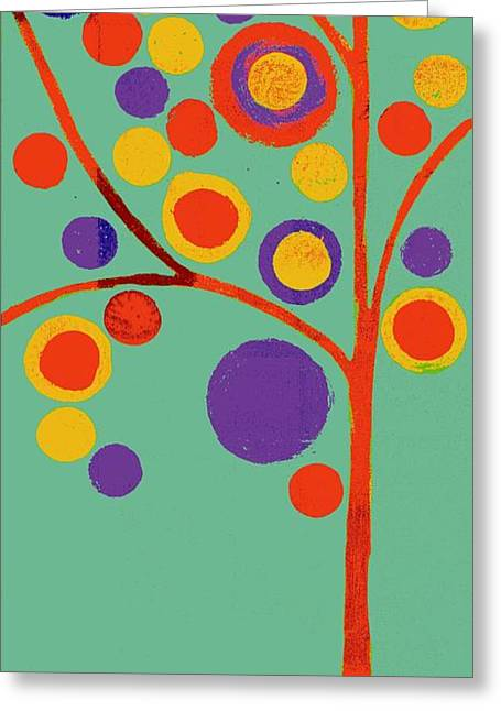 Green Geometry Art Greeting Cards - Bubble Tree - 290l - Pop 01 Greeting Card by Variance Collections