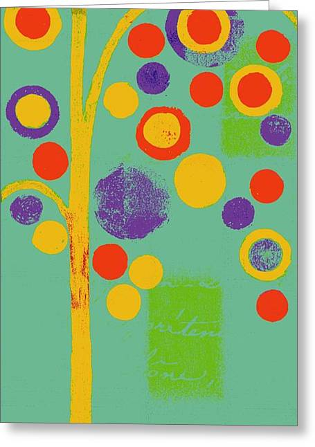 Green Geometry Art Greeting Cards - Bubble Tree - 290r - Pop 01 Greeting Card by Variance Collections