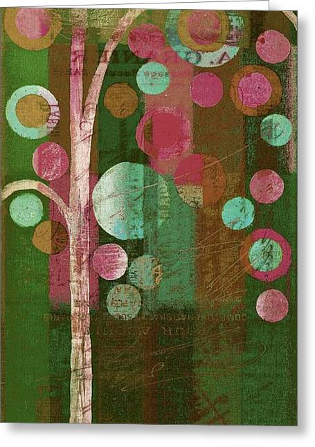 Geometric Shape Mixed Media Greeting Cards - Bubble Tree - 85rc16-j678888 Greeting Card by Variance Collections