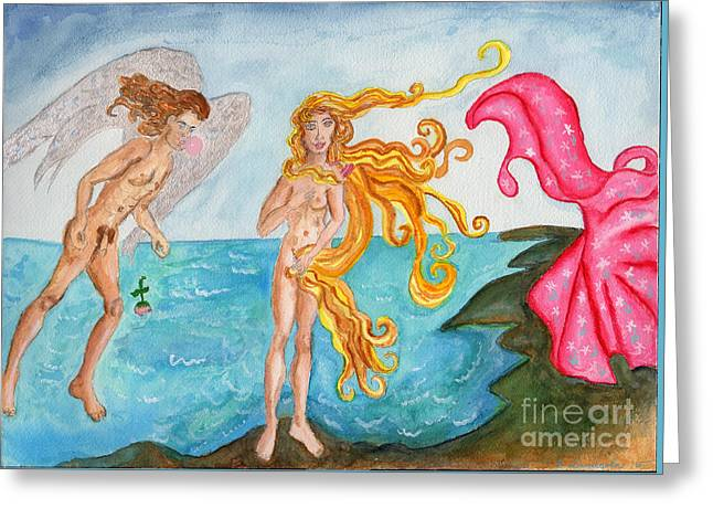 Bubblegum Angel And The Birth Of Venus Greeting Card by Debbie Davidsohn