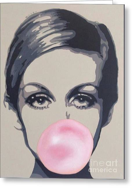 Best Sellers -  - Twiggy Greeting Cards - Bubblegum Beauty Greeting Card by Sara Sutton