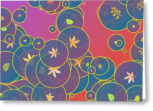 Bubbles And Leaves Greeting Card by Gaspar Avila