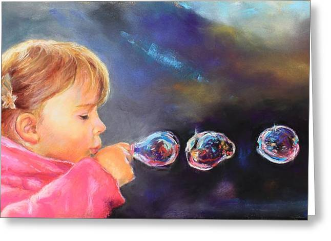 Beauty Pastels Greeting Cards - Bubbles  Greeting Card by Marco  Antonio