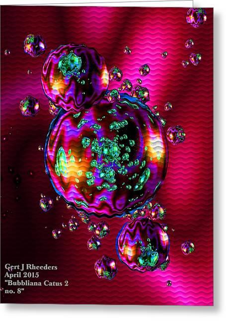 Abstract Digital Pastels Greeting Cards - Bubbliana Catus 2 no. 8 V a Greeting Card by Gert J Rheeders