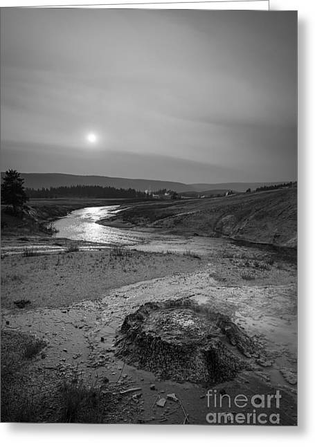 Bubbling Hot Spring In Yellowstone National Park Bw Greeting Card by Michael Ver Sprill