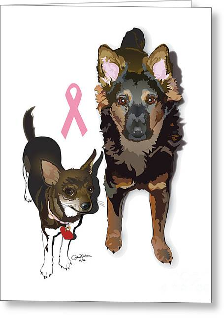 Doggies Greeting Cards - Bubo and Bear Against Breast Cancer Greeting Card by Donna Newsom