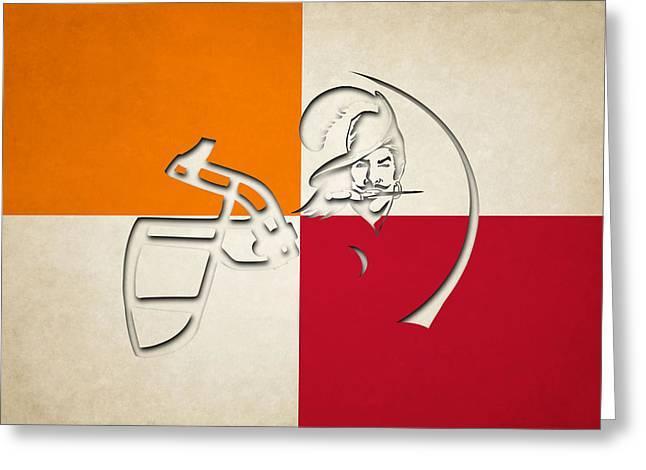 Buccaneer Greeting Cards - Buccaneers Helmet Art Greeting Card by Joe Hamilton