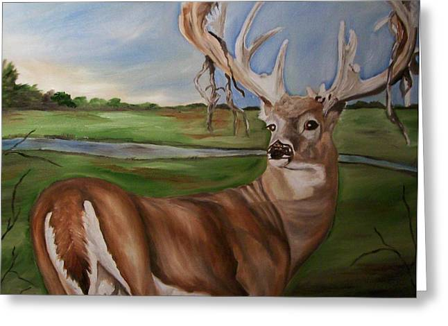 Son Gift Greeting Cards - Buck Shedding Velvet Greeting Card by Mikayla Henderson