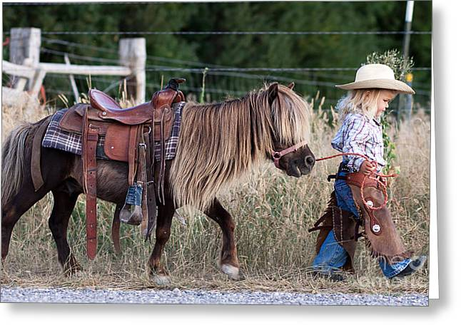 Kids Artist Greeting Cards - Buckaroo Cowgirl Greeting Card by Cindy Singleton