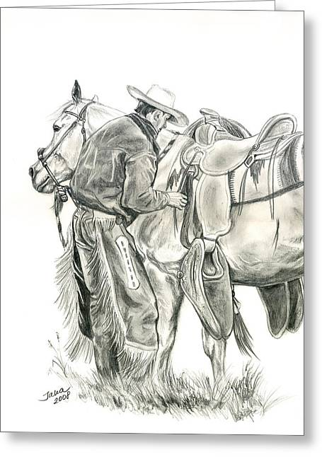 Quarter Horse Greeting Cards - Buckaroo Greeting Card by Jana Goode