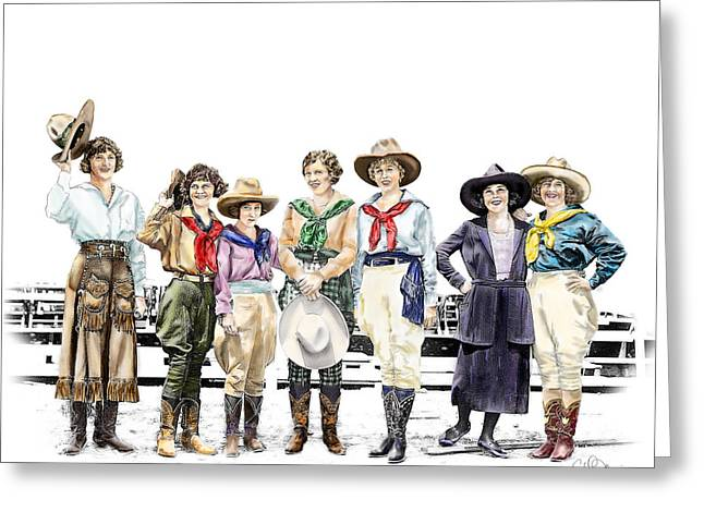 Cowgirl Greeting Cards - Buckin Horse Suffragettes Greeting Card by Shirley Morris