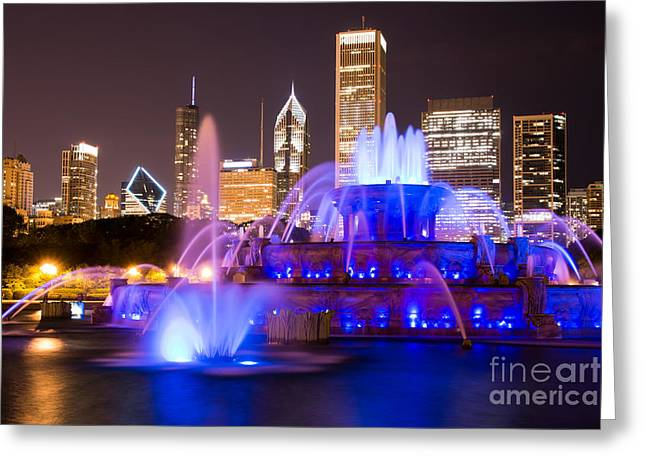 Spraying Greeting Cards - Buckingham Fountain at Night with Chicago Skyline Greeting Card by Paul Velgos