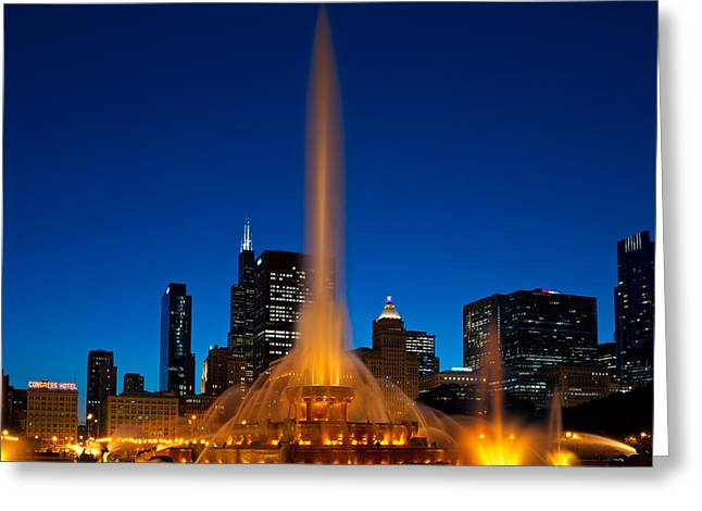 Parked Greeting Cards - Buckingham Fountain Nightlight Chicago Greeting Card by Steve Gadomski