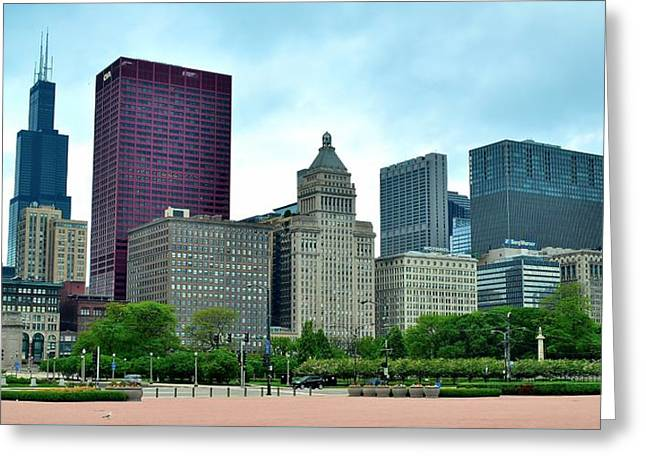 The Bean Greeting Cards - Buckingham Fountain Panoramic View Greeting Card by Frozen in Time Fine Art Photography