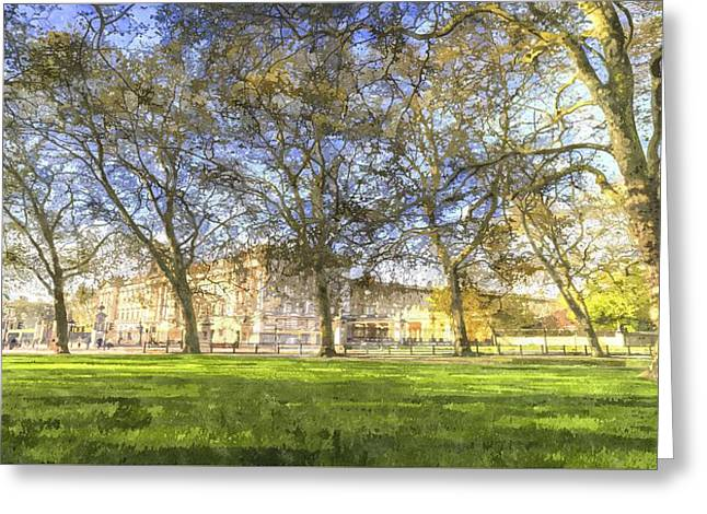 Buckingham Palace Art Panorama Greeting Card by David Pyatt