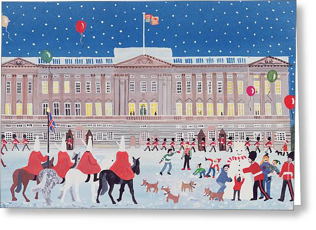 Snowy Evening Greeting Cards - Buckingham Palace Greeting Card by Judy Joel