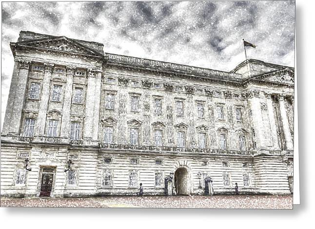 Buckingham Palace London Snow Greeting Card by David Pyatt