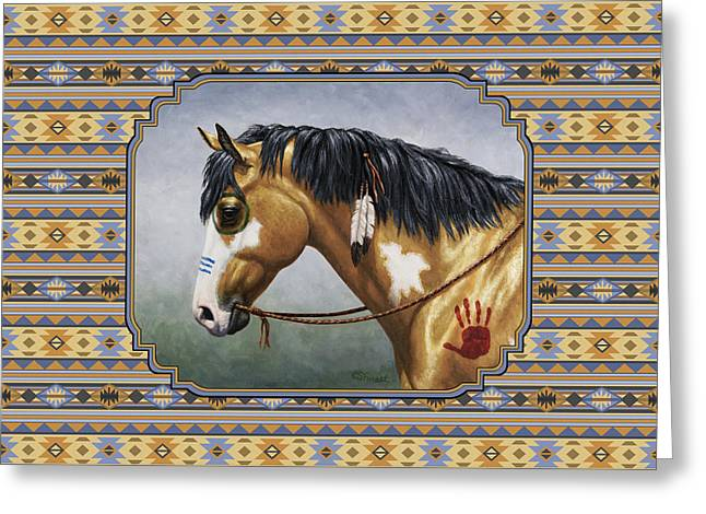 Pinto Horses Greeting Cards - Buckskin Native American War Horse Southwest Greeting Card by Crista Forest