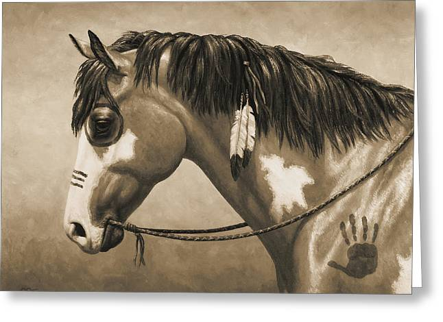 Old Western Photos Greeting Cards - Buckskin War Horse in Sepia Greeting Card by Crista Forest