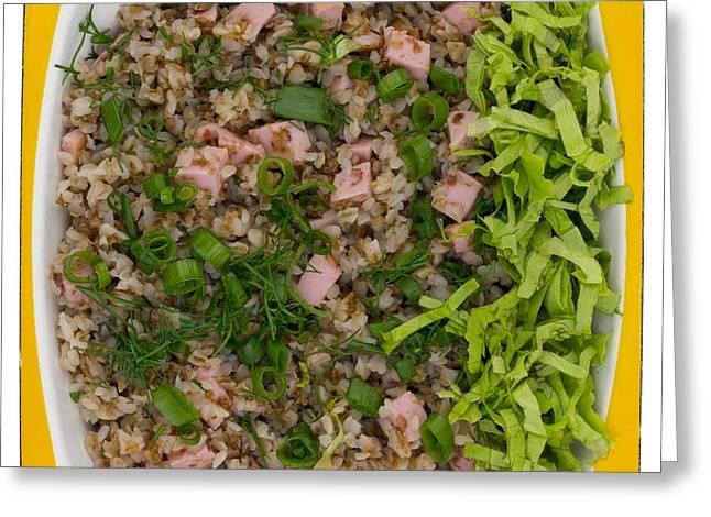 Porridge Bowl Greeting Cards - Buckwheat cereal with ham Greeting Card by Aleksandr Volkov