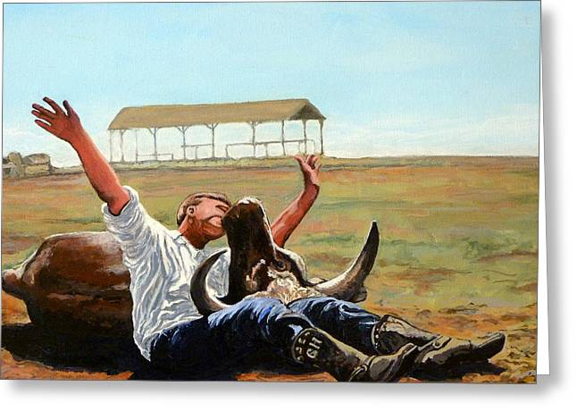 Bull Rider Greeting Cards - Bucky Gets the Bull Greeting Card by Tom Roderick