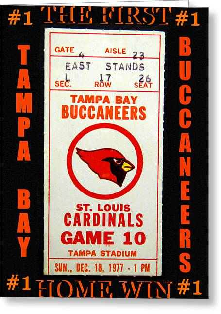 Buccaneer Greeting Cards - Bucs first home WIN Greeting Card by David Lee Thompson