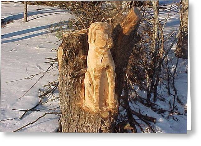 Chainsaw Carving Sculptures Greeting Cards - Bud the St. Bernard Greeting Card by Deverne Rushton