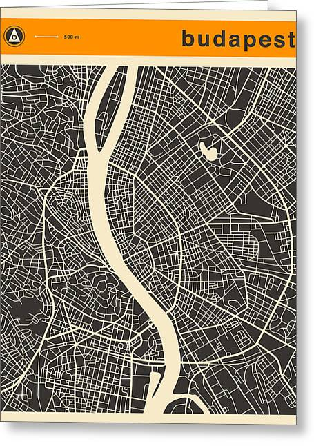 Budapest Greeting Cards - Budapest Map Greeting Card by Jazzberry Blue